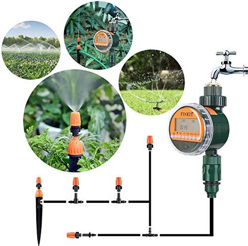 FIXKIT Elektronische Wasser Timer, Neue Bewässerungsuhr mit Regensensor, LCD Display, IP67 wasserdichte Schutzdeckel, Bewässerung Programme bis zu 30 Tagen (Bewässerungsuhr)