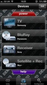 Screenshot der Gear4 Unityremote App