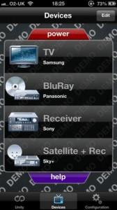 Screenshot der Gear4 Unityremote App