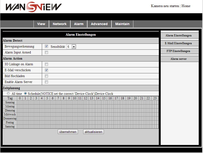 Screenshot: Wansview webinterface