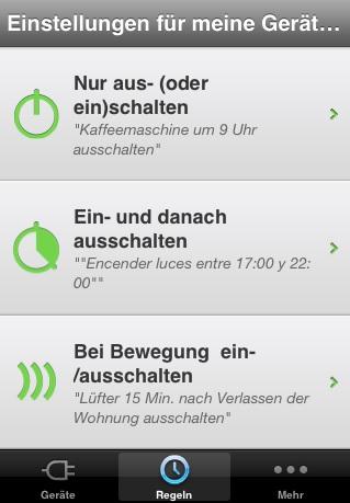 Screenshot: WeMo iOS-App