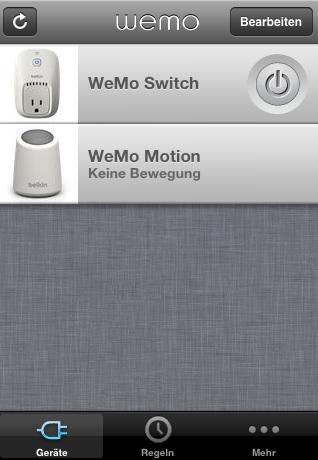 WeMo iOS-App Übersicht