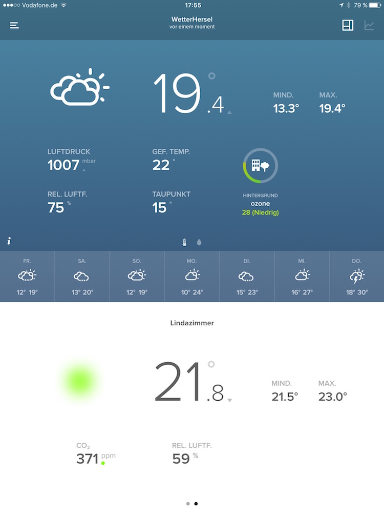 Netatmo Wetterstation Test (App Screenshot)