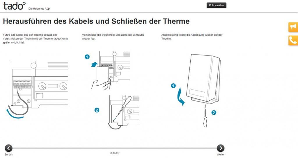 Anschluss der Tado-Box - Ausschnitt aus der Web-Anleitung