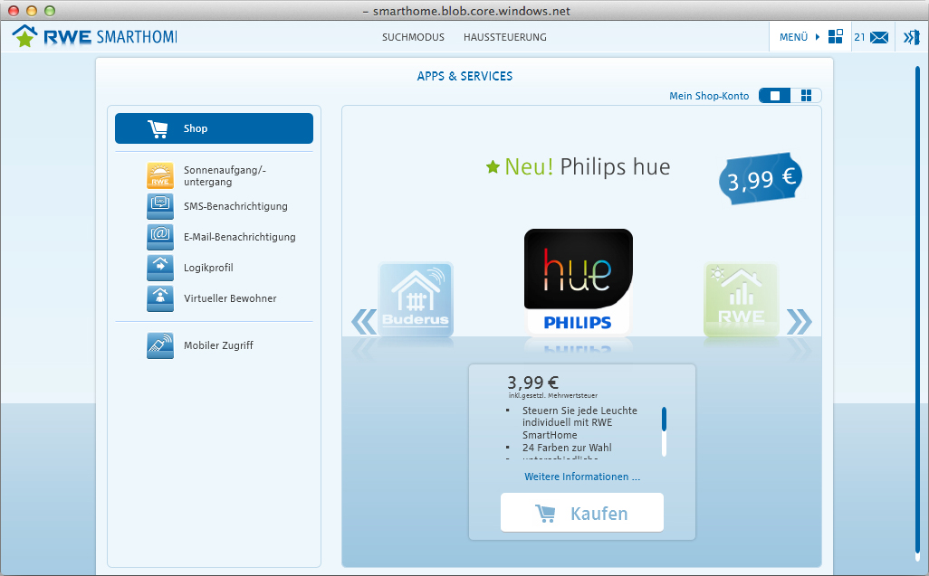 jetzt verf gbar philips hue integration f r rwe smarthome housecontrollers. Black Bedroom Furniture Sets. Home Design Ideas