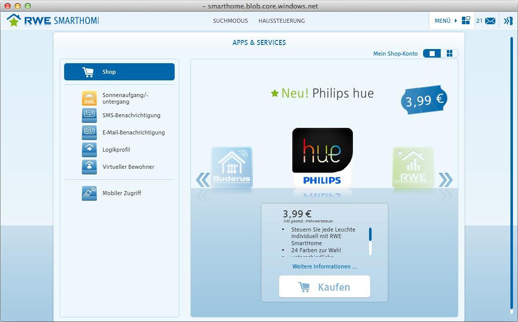 Hue App für RWE SmartHome