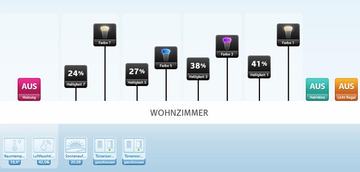Screenshot: RWE SmartHome mit Philips Hue