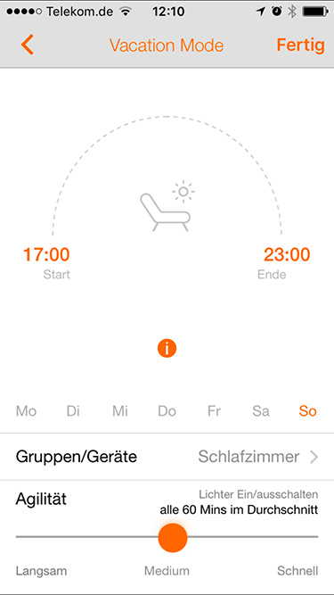 Lightify Urlaubsmodus