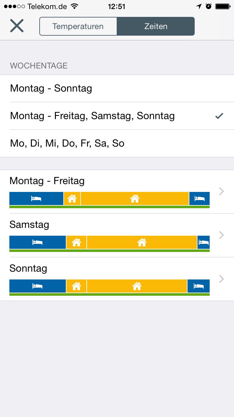 Tado App: Zeiten