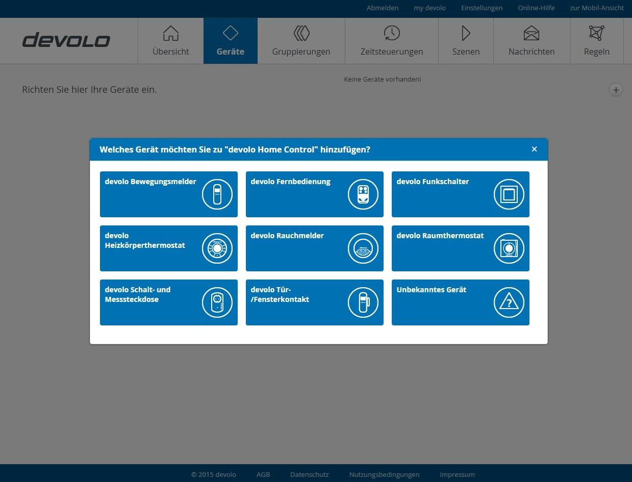 Devolo Home Control - Gerät hinzufügen