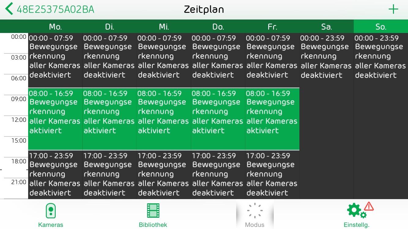 Netgear Arlo App: Zeitplan
