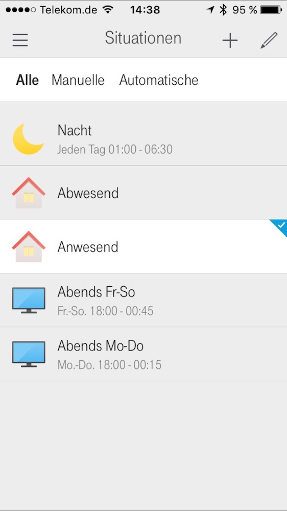 Qivicon Smarthome App: Situationen (Screenshot)