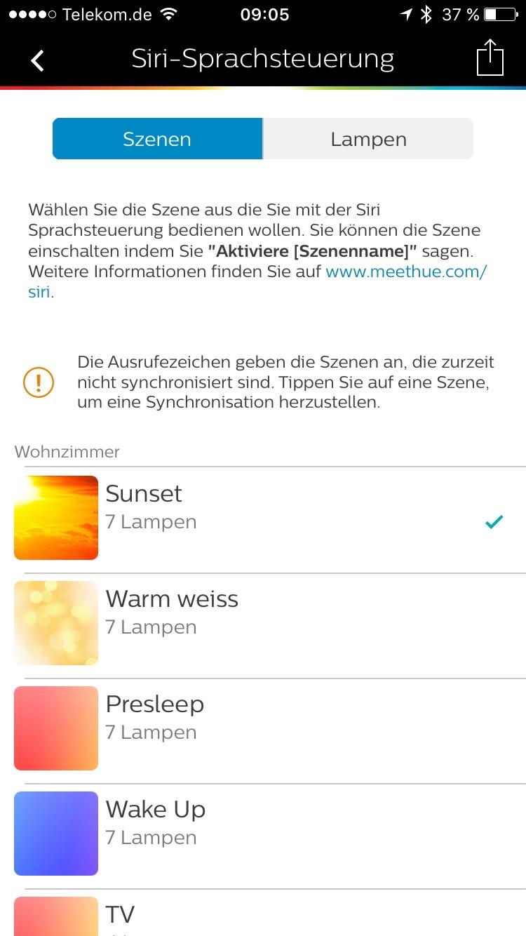 Philips Hue App: Siri Unterstützung