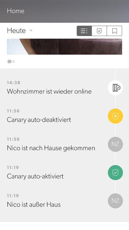 Canary App: Timeline