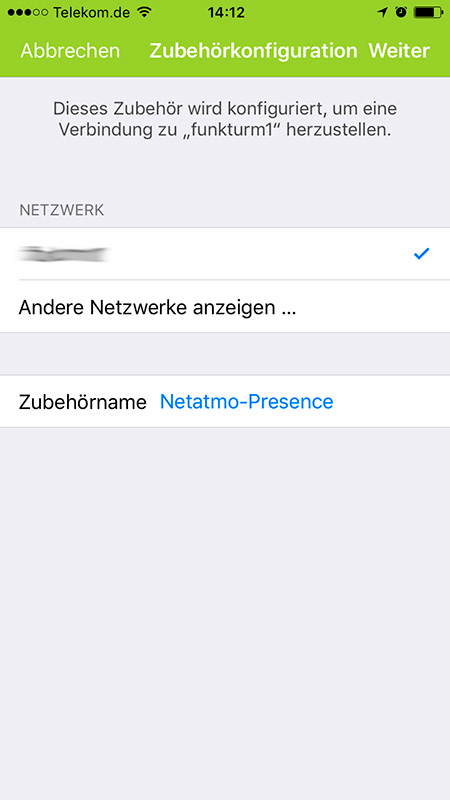 Auswahl des Wifi-Netzes