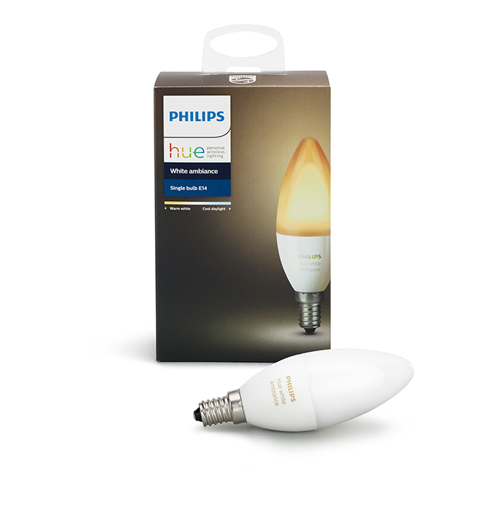 philips hue e14 white ambiance kerzenlampe im test. Black Bedroom Furniture Sets. Home Design Ideas