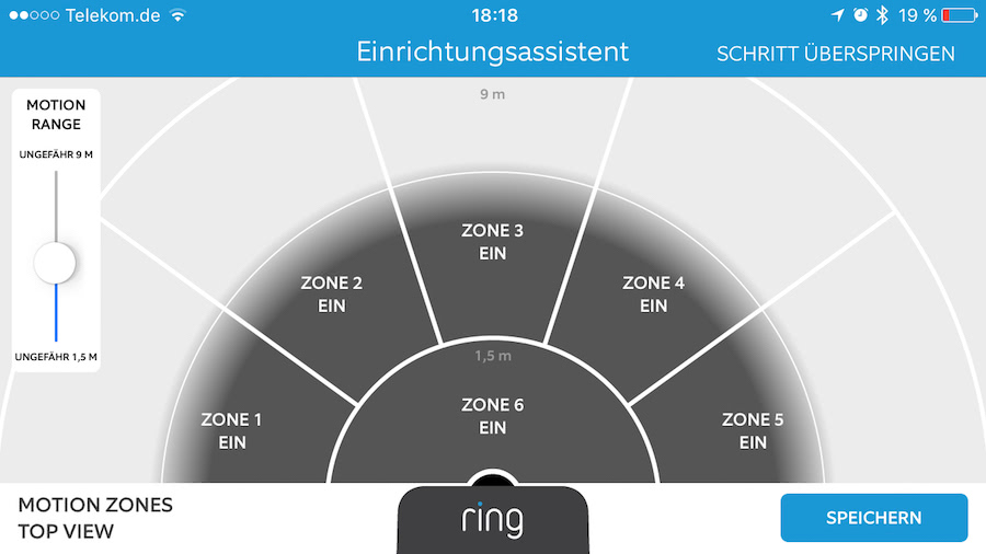 Ring Video Türklingel: Konfiguration des Bewegungsmelders