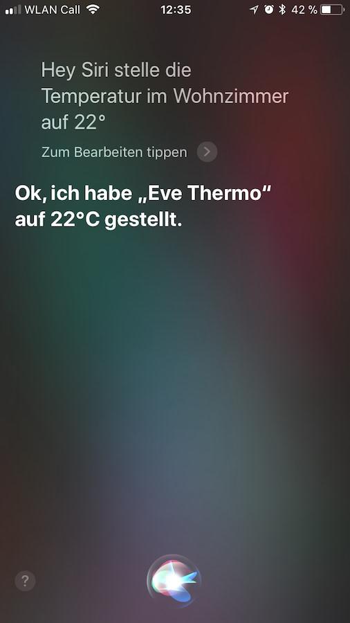 Heizungssteuerung mit Siri
