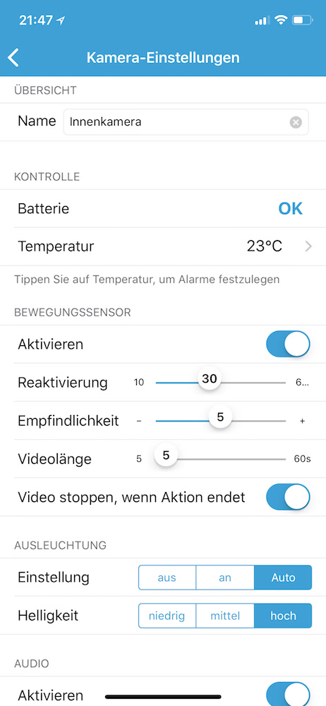 Blink Home Security App: Einstellungen
