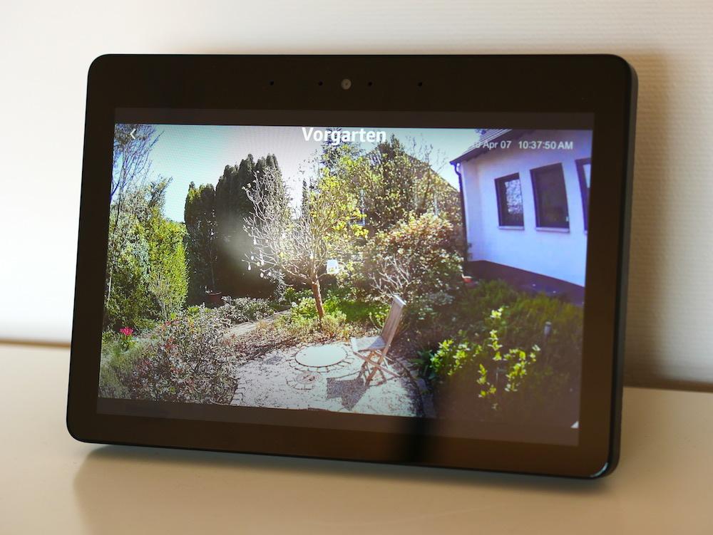 EufyCam E: Livebild der Überwachungskamera auf dem Amazon Echo Show.