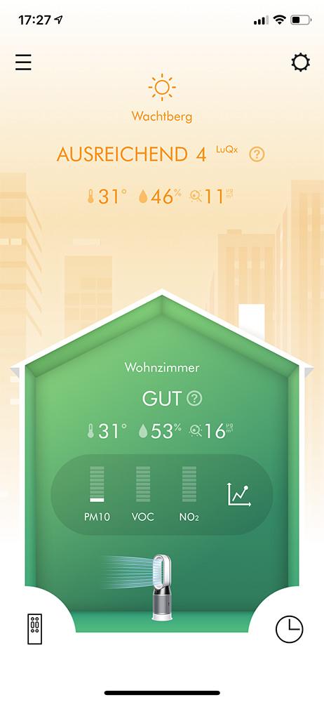 Screenshot: Dyson App für Luftreiniger: Luftqualität