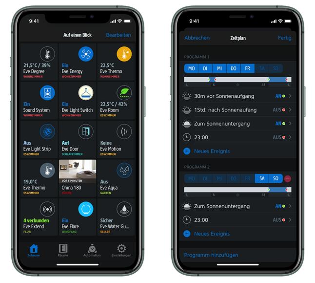 Eve Home App mit Dunkelmodus