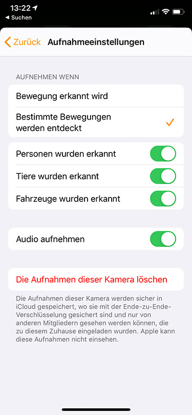 HomeKit Secure Video: Einstellungen