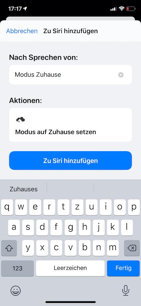 Homee Sprachsteuerung mit Siri
