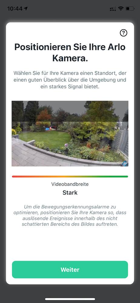 Arlo Essential Einrichtung: Screenshot der App
