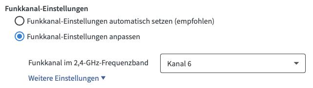AVM Fritzbox WLAN Funkkanal-Einstellungen